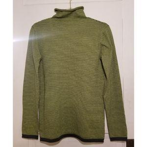 Title Nine Mock Neck Sweater Green Striped